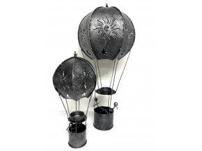Závěsný kovový  svícen létající balón 25cm