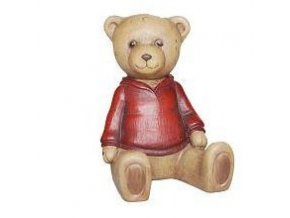 medvídek v červeém svetru