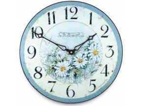 hodiny nástěnné modrá kopretina