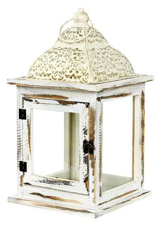 Dřevěná lucerna s kovovou stříškou, antik, bílá