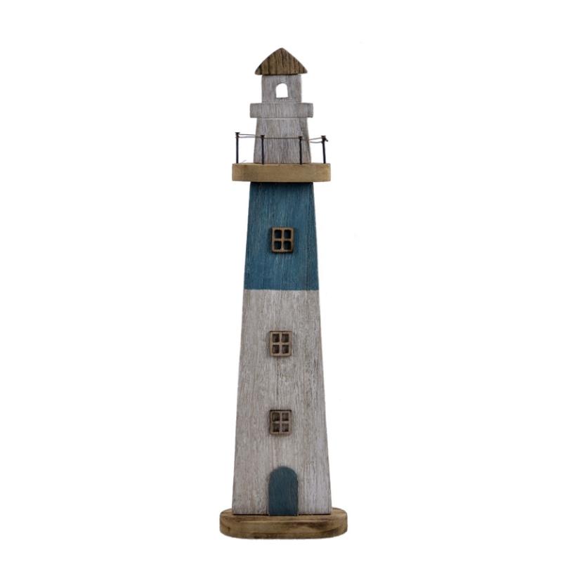 Maják, dřevěná dekorace, modrý, 53 cm