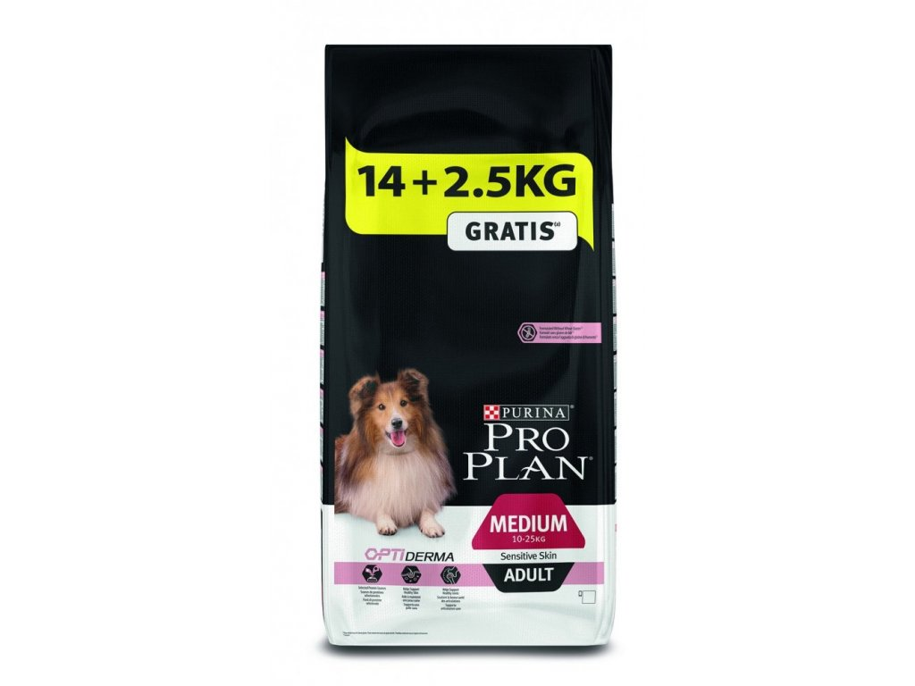 Purina Pro Plan Medium Adult Sensitive Skin 14 kg + 2,5 kg Zdarma
