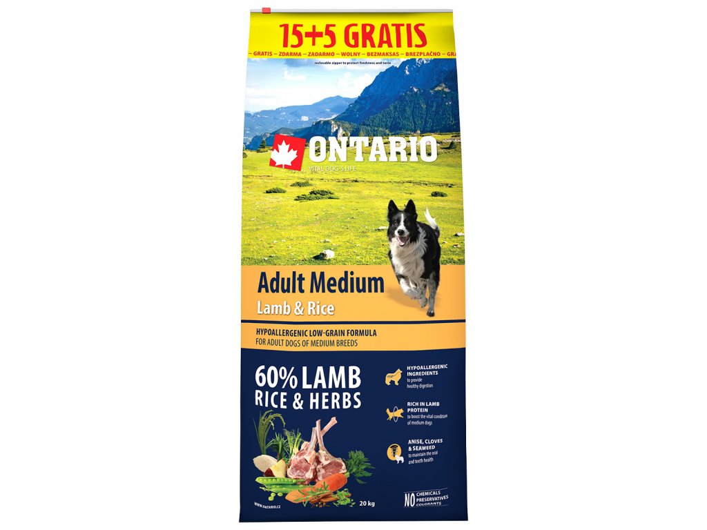 ontario adult medium lamb rice 15 5 kg zdarma original