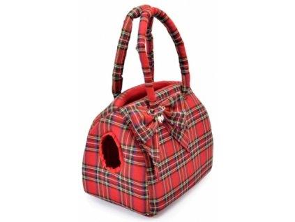 Elegantní taška červené káro S