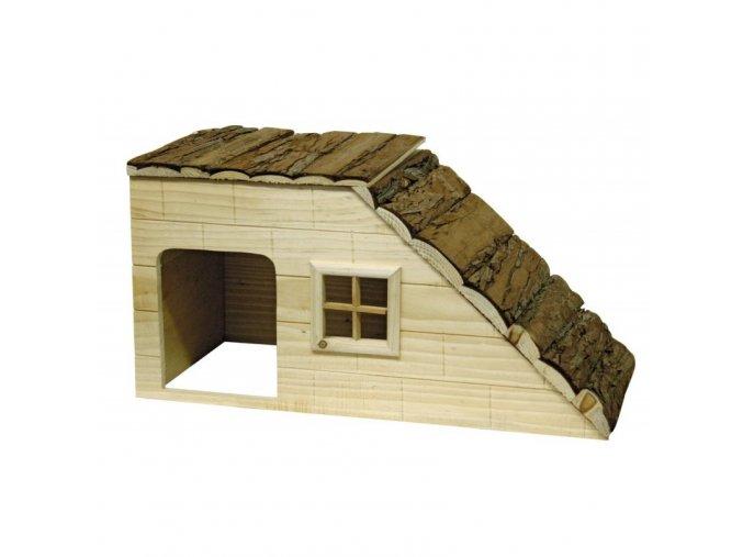 Domek pro králíky a jiné hlodavce, se šikmou střechou