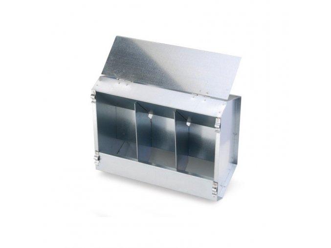 Krmítko závěsné pro králíky a slepice, krmný automat 3-místný, pozink