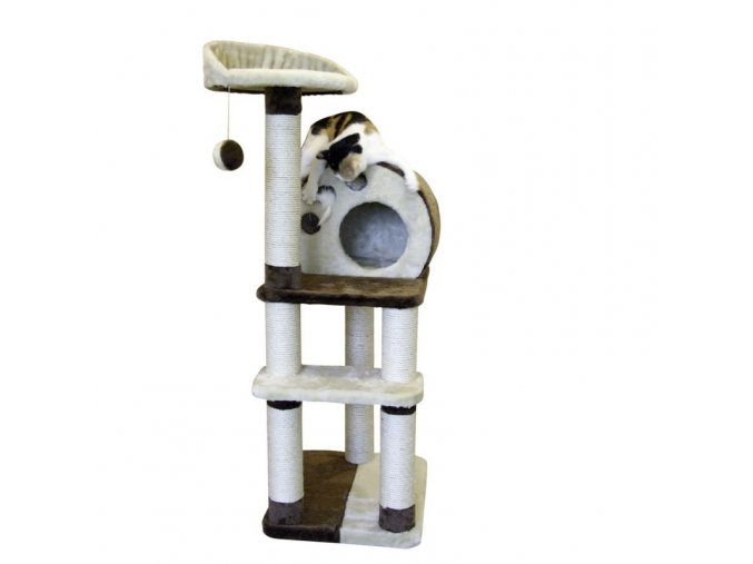 Škrabadlo pro kočky PLANET X - kočičí domek, hnědá/béžová