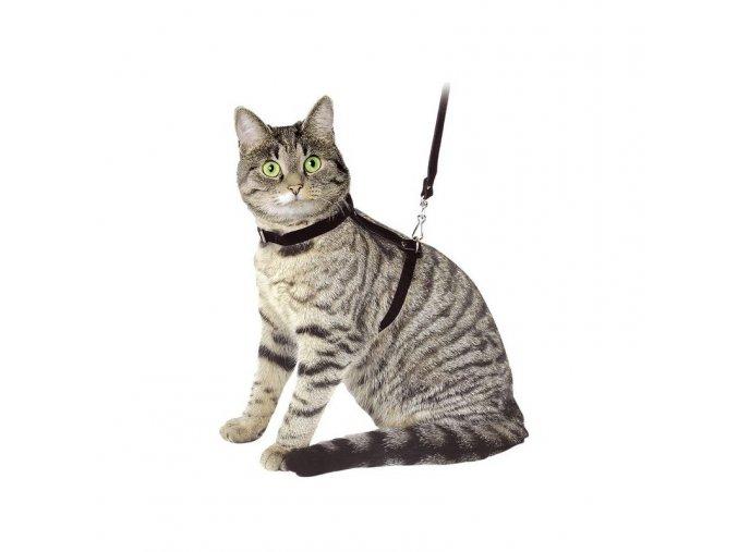 Postroj pro kočky + vodítko, černý semiš
