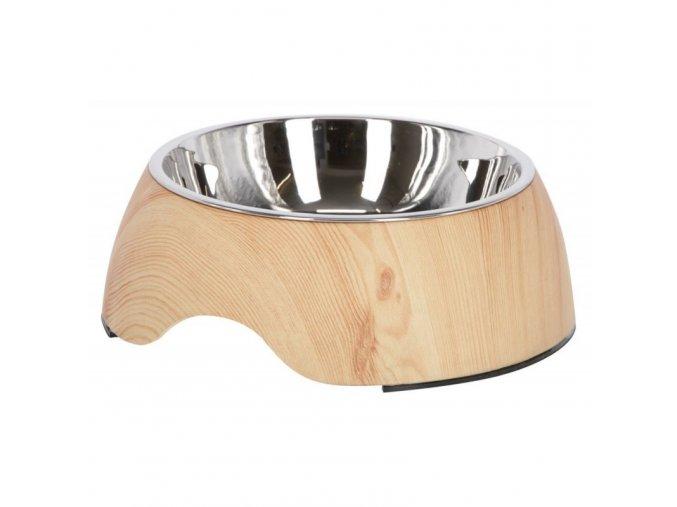 Miska pro psy a kočky, nerezová v melaminovém pouzdře,dřevo 250 ml