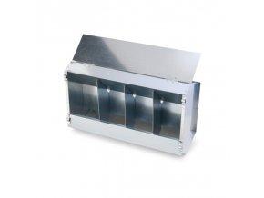 Krmítko závěsné pro králíky a slepice, krmný automat 4-místný, pozink