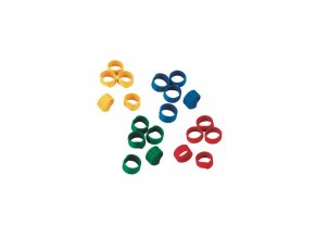 Kroužky na slepice, spirálové, 4 barvy, 12 mm / 100 ks