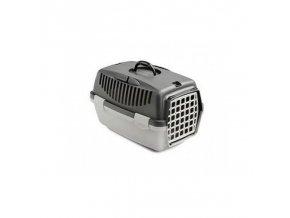 Přepravka pro psy a kočky Gulliver 1, 48x32x31cm, plastová dvířka, tmavě šedá/světle šedá