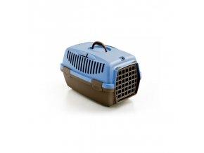 Přepravka pro psy a kočky Gulliver 1, 48x32x31cm, plastová dvířka, hnědá/ocelově modrá