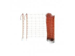 Síť k elektrickým ohradníkům na ovce Ovinet, 90cm, 50m, oranžová, 2 hroty