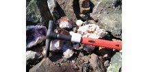 """! AKCE ! ,, geologické """" kladívko + kožené oko na kladivo k opasku  ZDARMA"""
