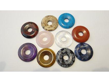 Donut z drahých kamenů - energetický přívěsek, talisman  - 10 druhů
