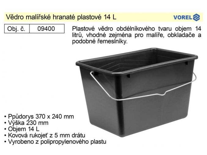 Vědro hranaté plastové 12 L