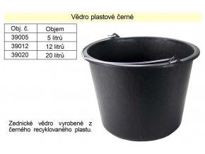 Vědro plastové černé 12 L