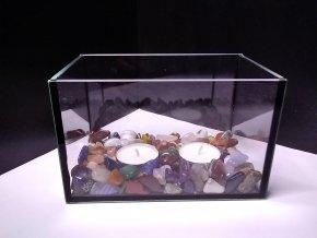 Ozdobná skleněná nádoba s tromlovanými kameny na dvě svíčky - Kvádr