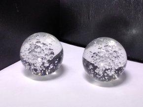 Koule Feng-Shui křištálová skleněná s bublinami - velikost 8 cm