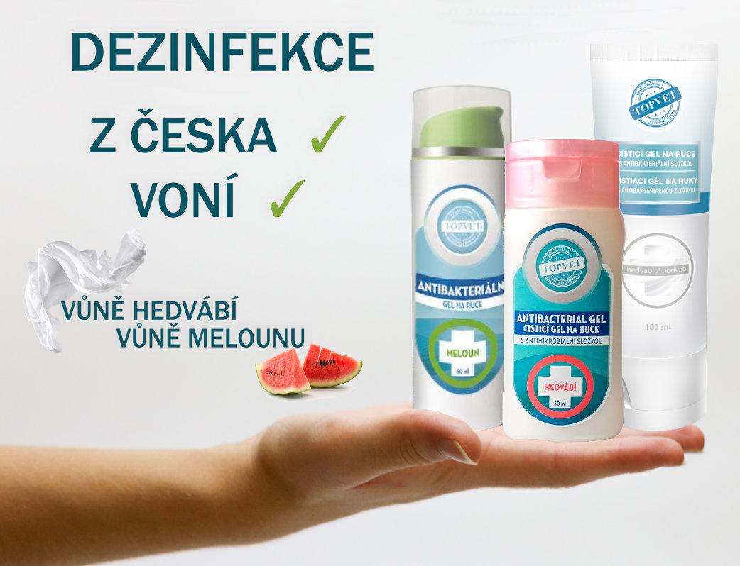 Dezinfekční gely na ruce z ČR