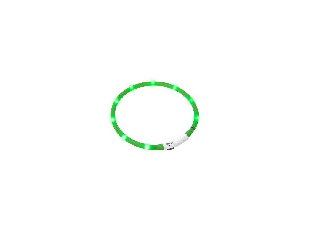 LED svetelny obojek zeleny obvod 20-75 cm
