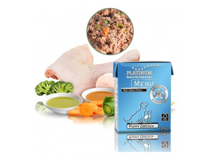 platinum natural menu puppy chicken 375g