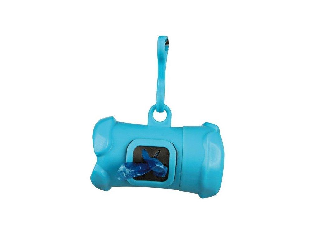 TRIXIE Plastový zásobník na sáčky na trus - KOST + 1 role sáčků Barva: Plastový zásobník na sáčky na trus - KOST + 1 role sáčků - KOST - modrý