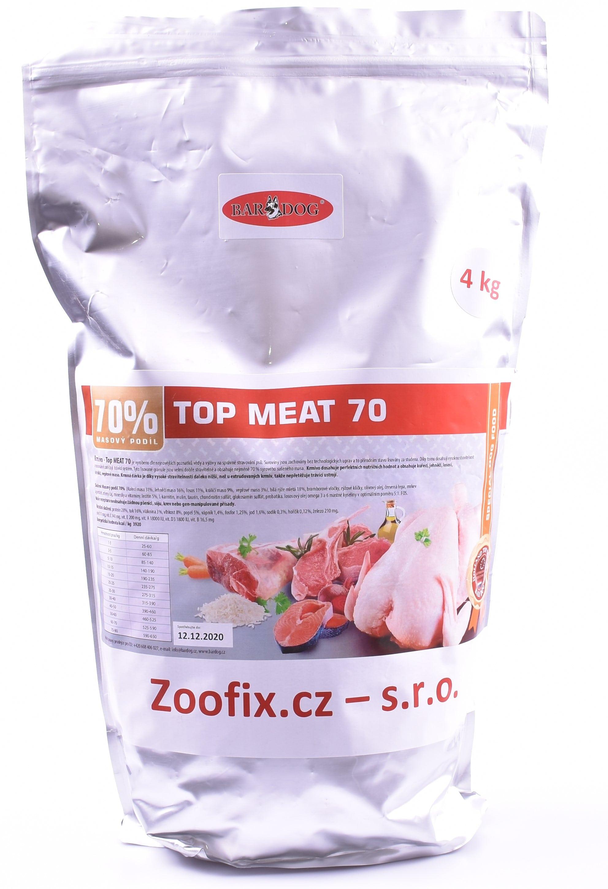 Bardog granule lisované za studena Top Meat 70% balení: 4 kg