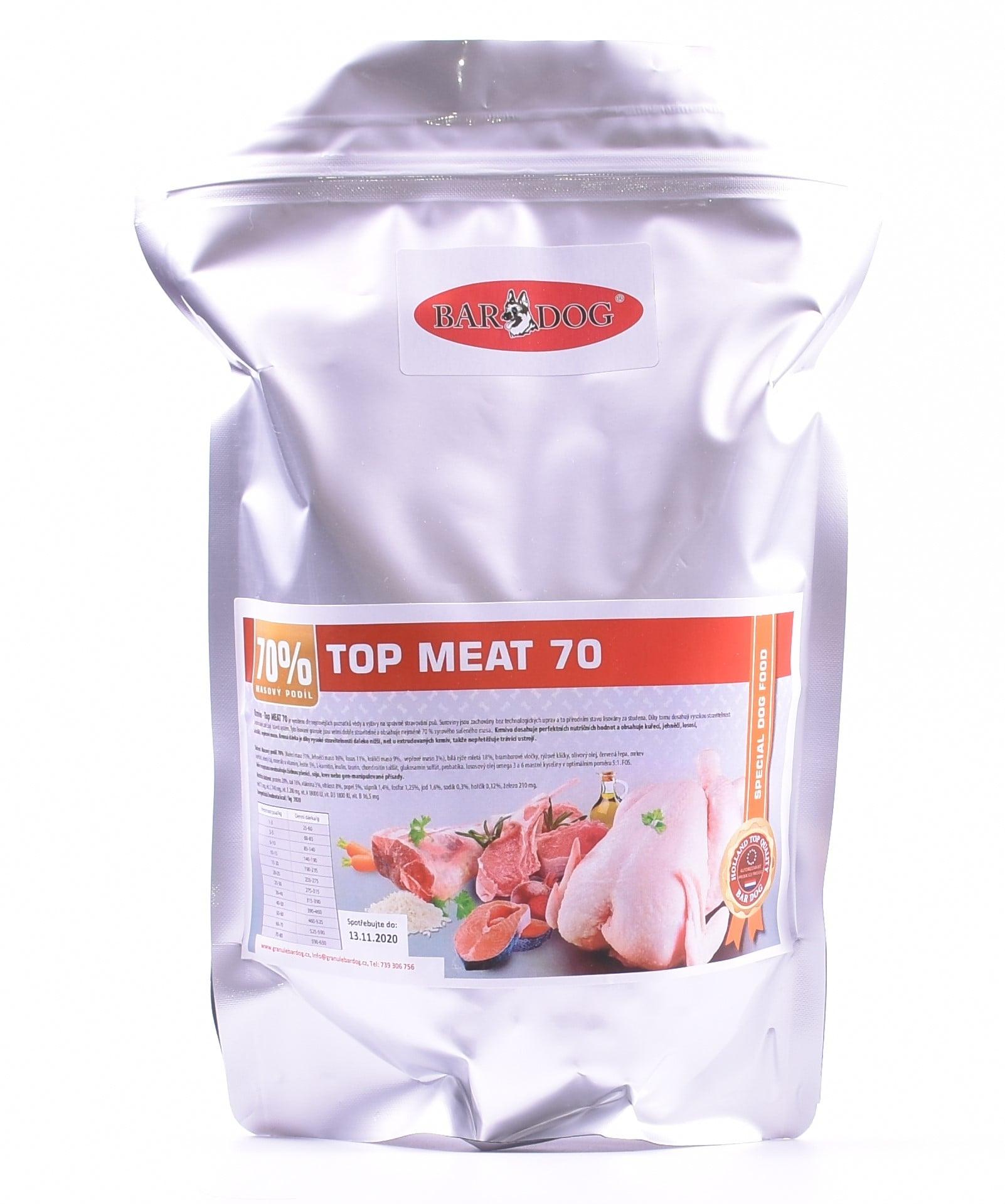 Bardog granule lisované za studena Top Meat 70% balení: 1 kg