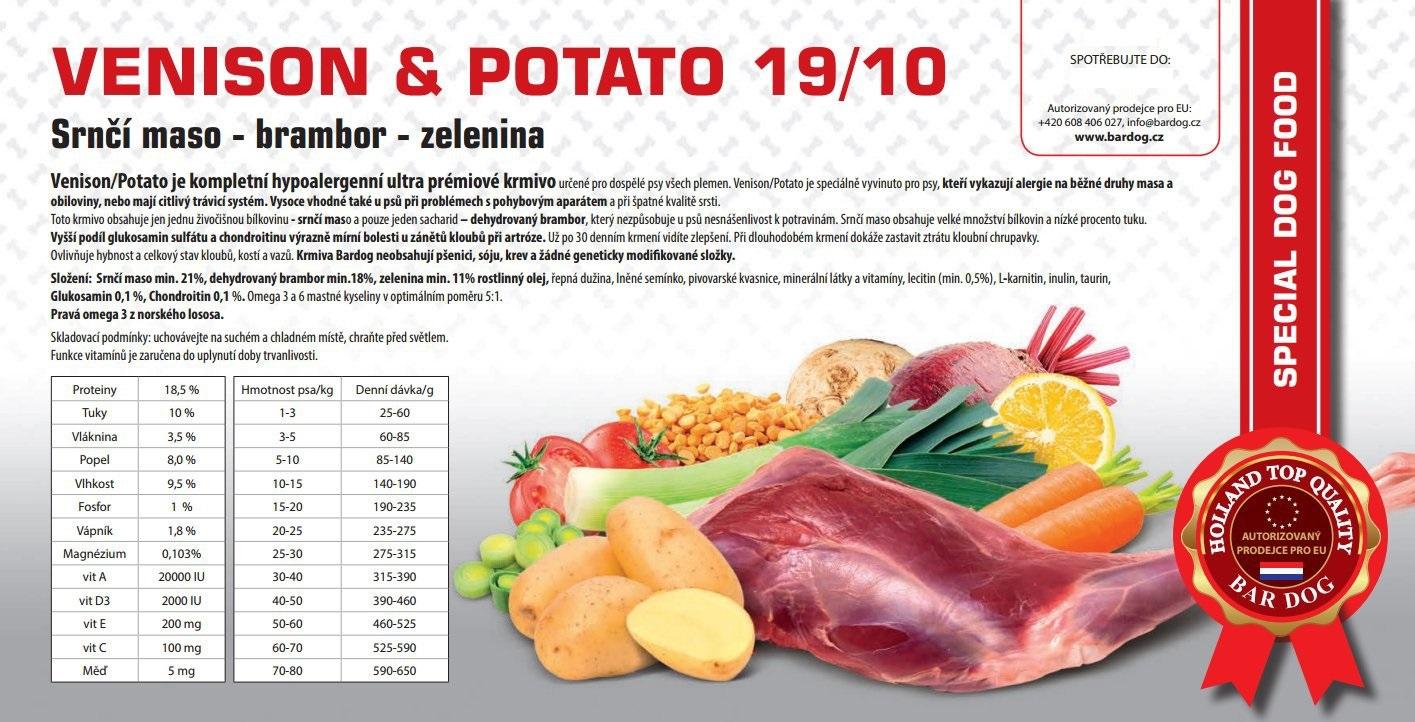 Bardog Hypoalergenní Venison Potato 19/10 balení: 1 kg