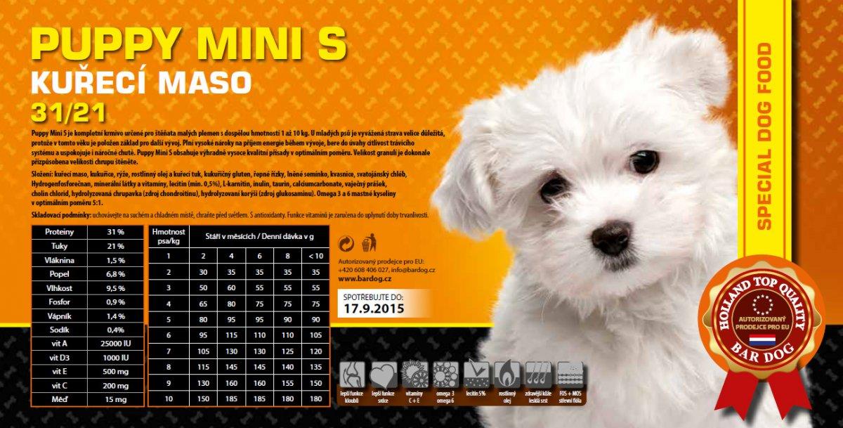 Bardog Super Prémium Puppy Mini S 31/21 balení: 1 kg
