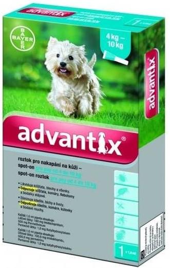 BAYER Advantix Spot on pro psy balení: Advantix Spot-on modrý - pes 4-10 kg