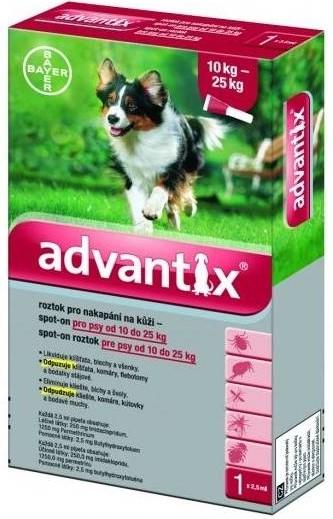 BAYER Advantix Spot on pro psy balení: Advantix Spot-on červený - pes 10-25 kg