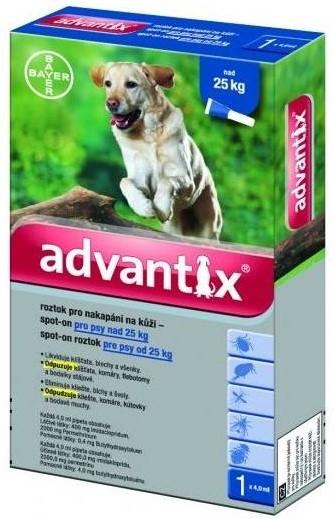 BAYER Advantix Spot on pro psy balení: Advantix Spot-on modrozelený - nad 25 kg