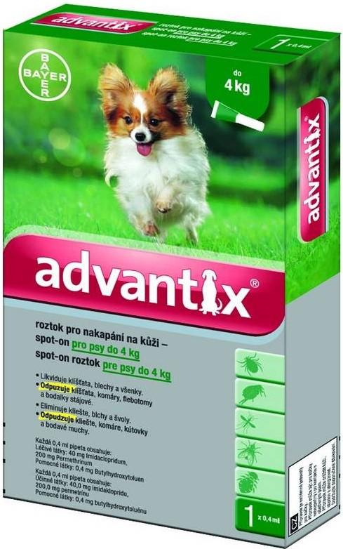 BAYER Advantix Spot on pro psy balení: Advantix Spot-on zelený - pes do 4 kg