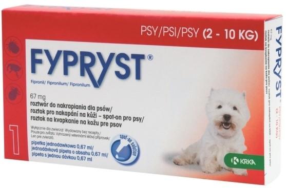 KRKA Fypryst spot on Dog balení: KRKA Fypryst Spot onDog S 2-10kg 1x0,67ml