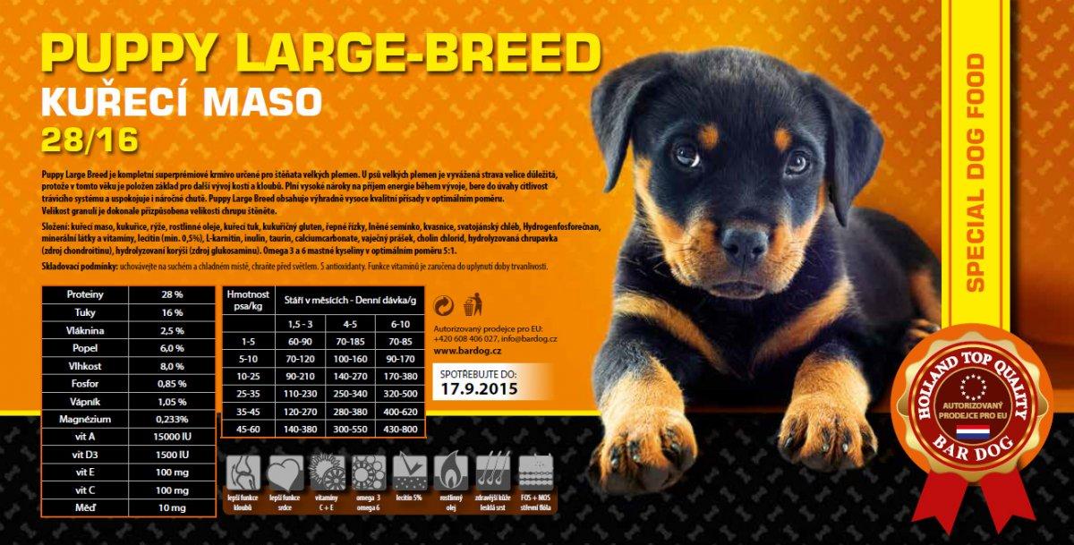 BarDog Puppy Large & Breed kuřecí maso balení: 15kg