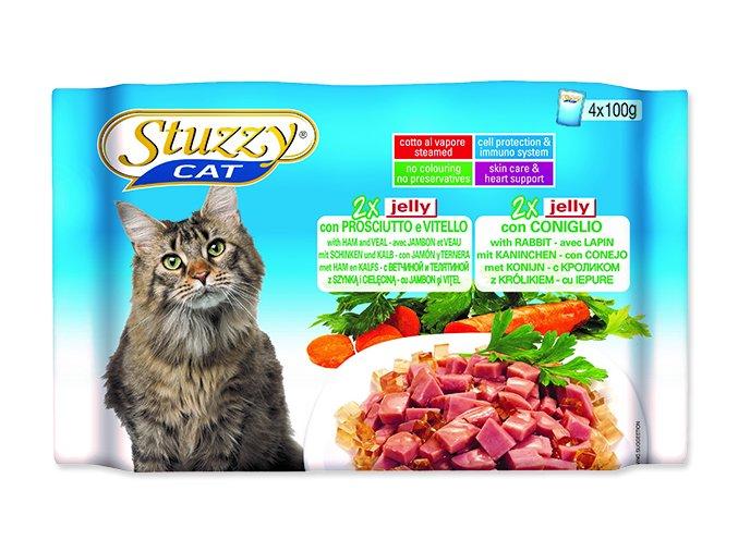 STUZZY Kapsička Cat šunka s telecím + králík v želé - multipack 400g