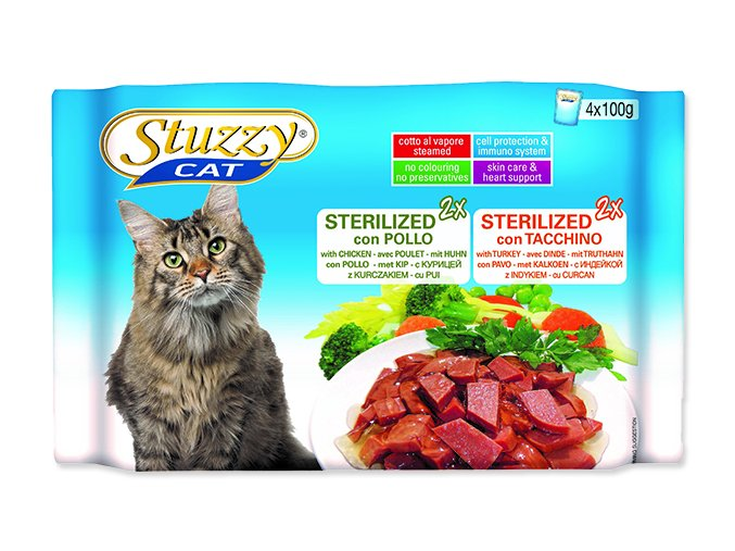 STUZZY Kapsička Cat Sterilized kuřecí + krůtí - multipack 400g