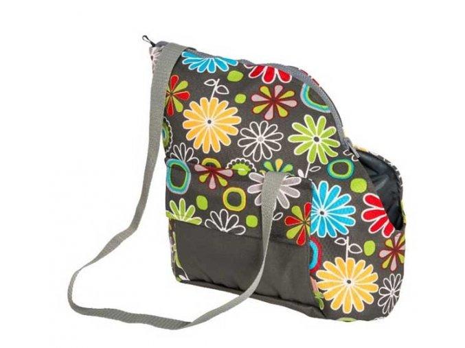 Transp. Taška textil Viky šedá s květy 30 cm