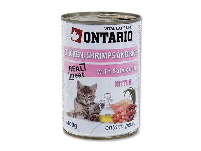 ONTARIO konzerva Kitten Chicken, Shrimp, Rice and Salmon Oil 400g
