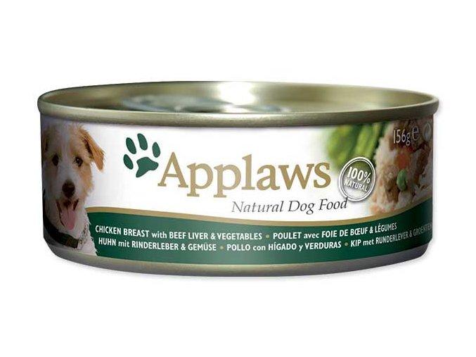 Applaws konzerva Dog 156g kuře, hovězí játra a zelenina