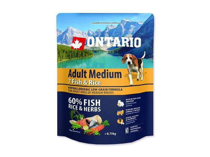 ONTARIO Adult Medium Fish & Rice 0,75 kg