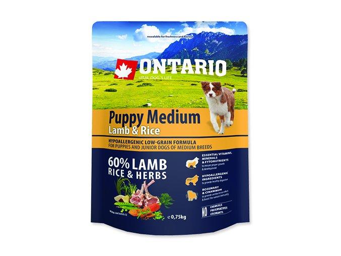 ONTARIO Puppy Medium Lamb & Rice 0,75 kg