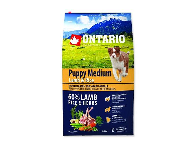 ONTARIO Puppy Medium Lamb & Rice 6,5 kg