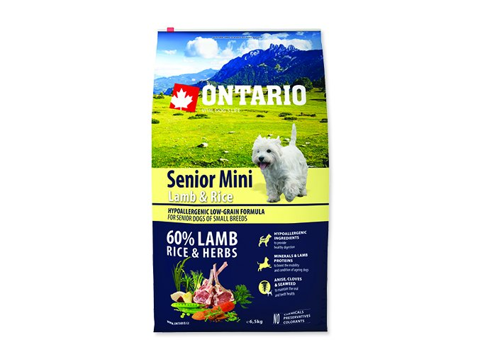 ONTARIO Senior Mini Lamb & Rice 6,5 kg
