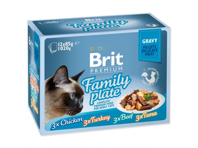 BRIT Premium Cat Kapsička Delicate Fillets in Gravy Family Plate 1020g