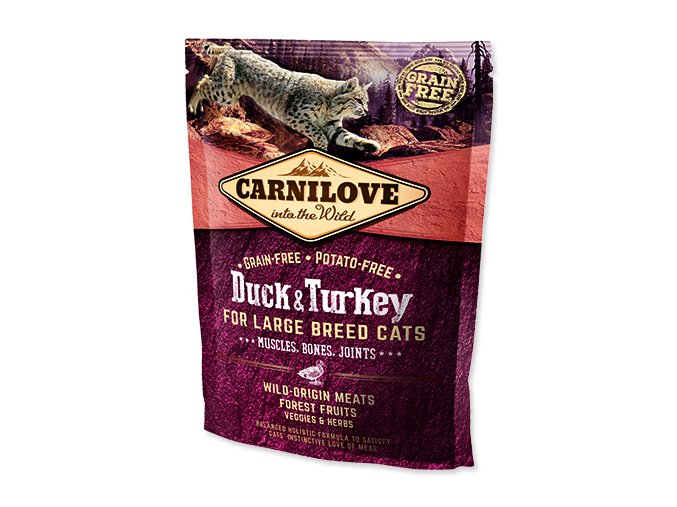 Carnilove Duck and Turkey Large Breed Cats – Muscles,Bones,Joints 400g