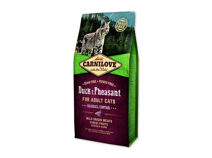 CARNILOVE Duck and Pheasant adult cats Hairball Control 6 kg